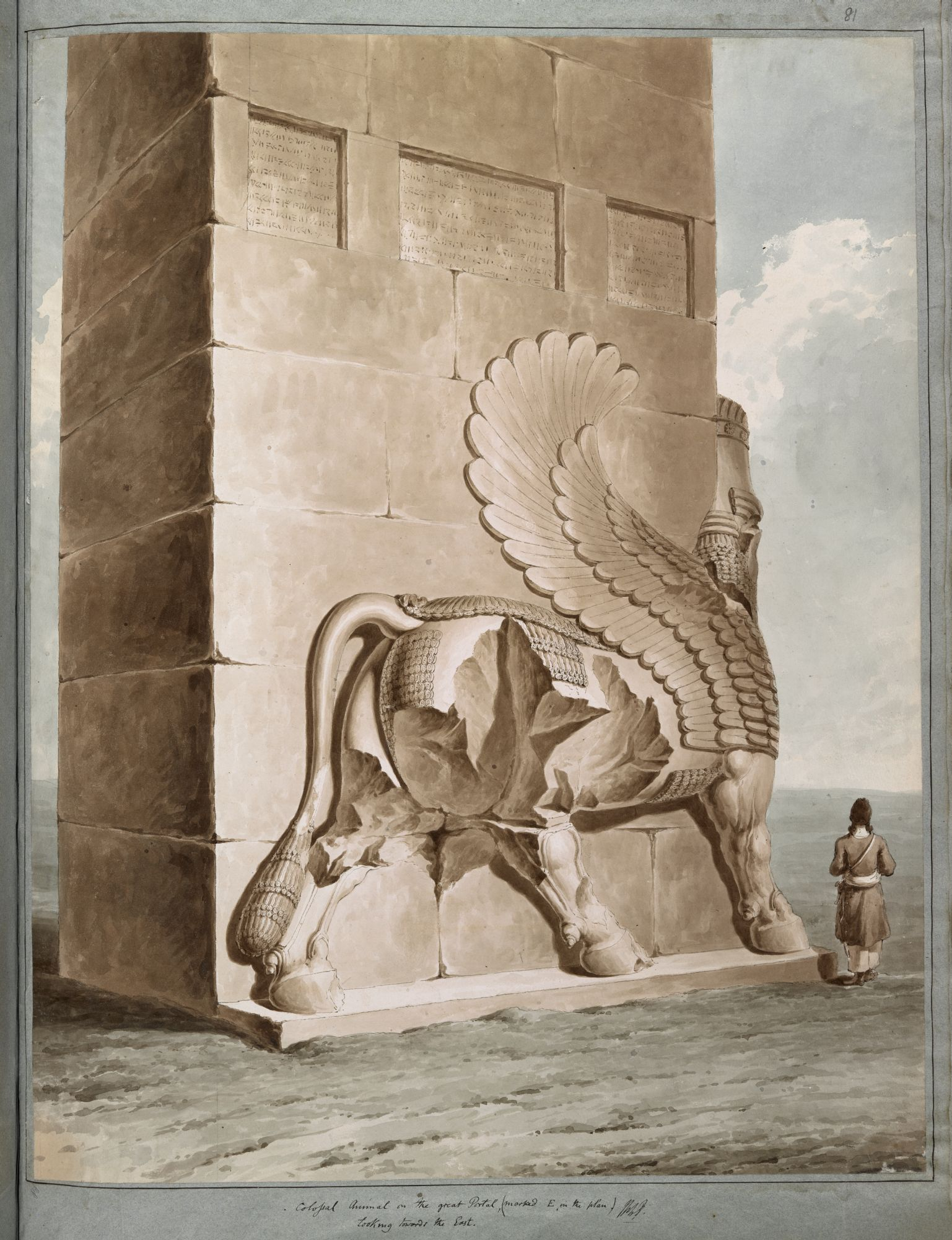 A winged bull at Persepolis, by Sir Robert Ker Porter.