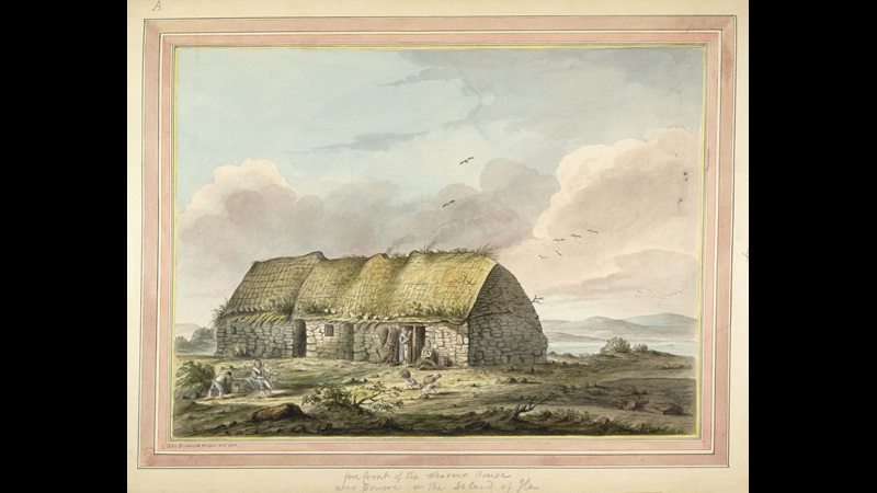 Fore front of the Weavers' House near Bowmore on the Island of Islay, by James Miller.