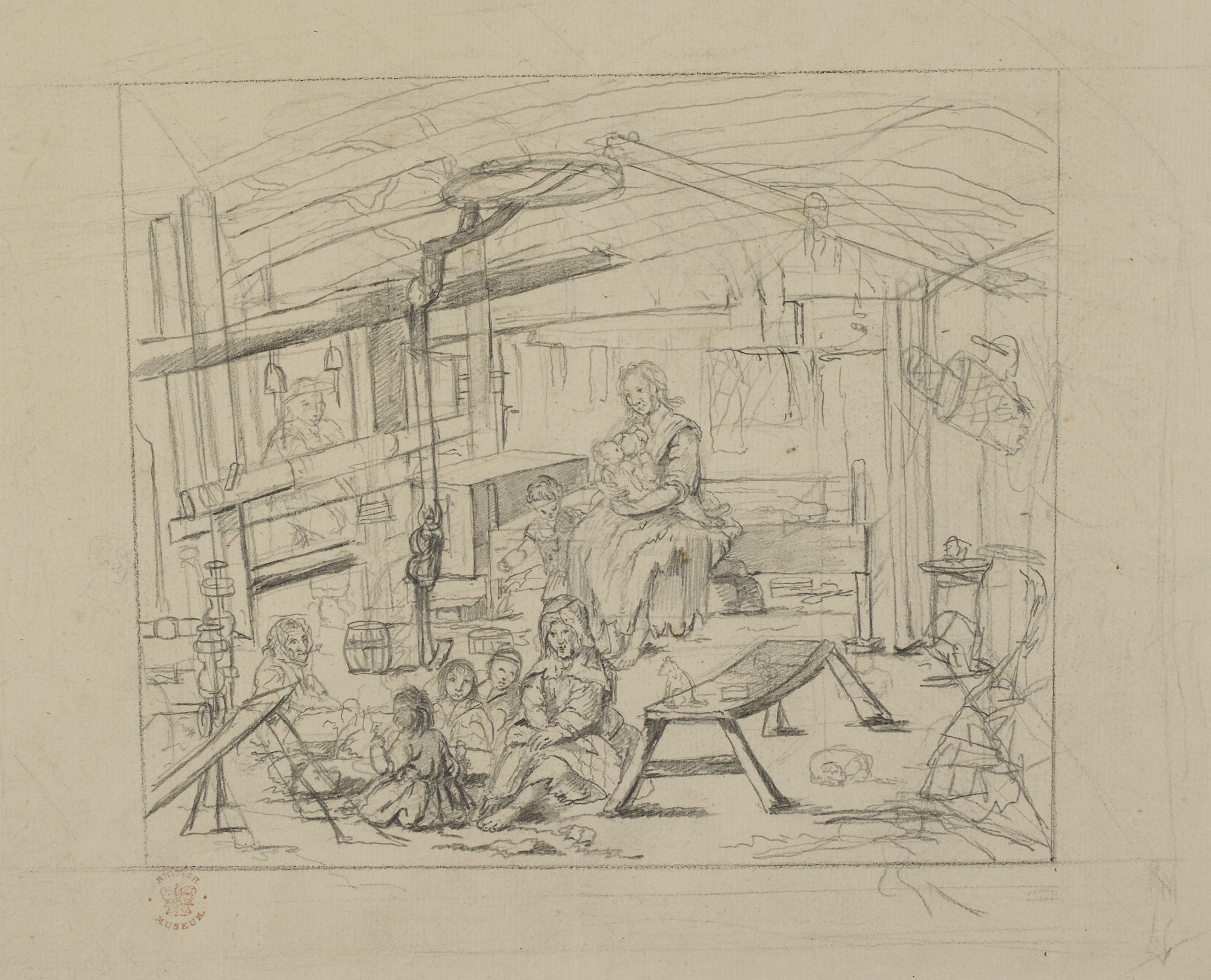 Pencil sketch of a Weaver's Cottage in Islay, by John Frederick Miller.