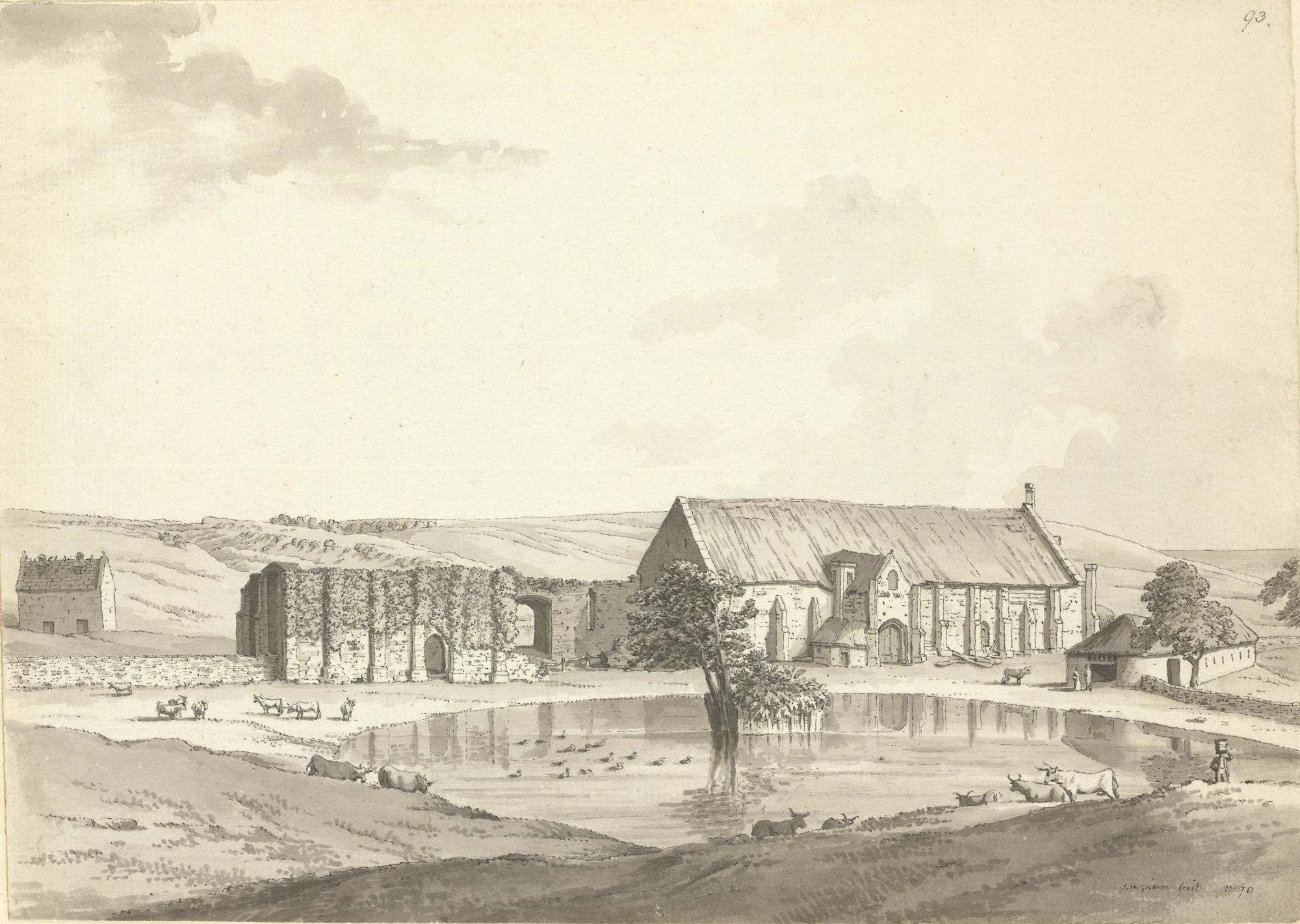 Samuel Hieronymus Grimm, The old tithe barn at Abbotsbury, c.1770–1790, Add. MS 15537, f.93