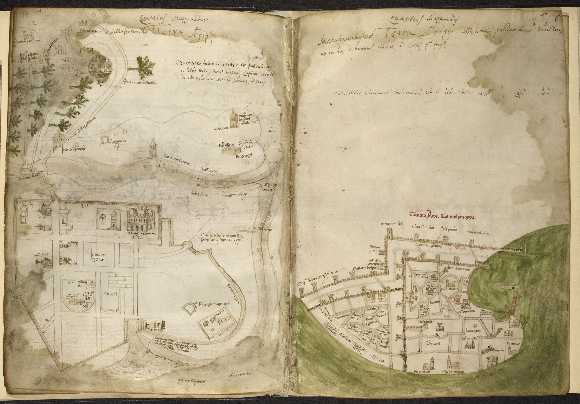 Maps of Jerusalem and Acre by Pietro Vesconte.