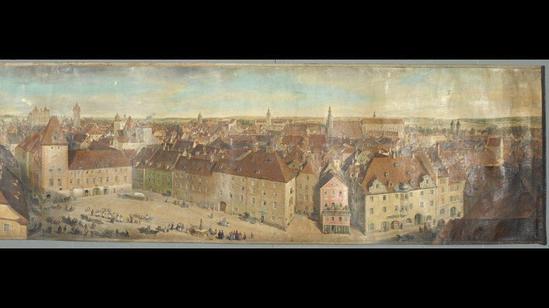 PANORAMIC VIEW of that part of Ratisbon west of the cathedral, painted in water-colours by G. Scharf, sen.; 1845. Paper; 6 ft. 1/2 in. X 1 ft.