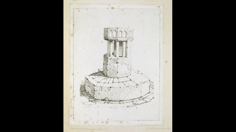 John Sell Cotman (1782–1842), The Font at St Swithin's Church, Ashmanhaugh, 1 December 1813, etching, Add MS 23024, f.64