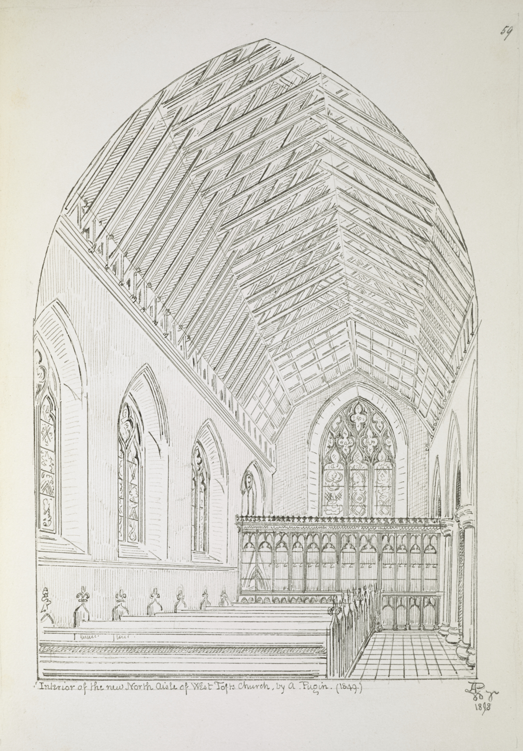 Augustus Welby Northmore Pugin (1812–52), Aisle of St Mary's, West Tofts, 1848, pencil, pen and black ink, Add MS 23061, f.59