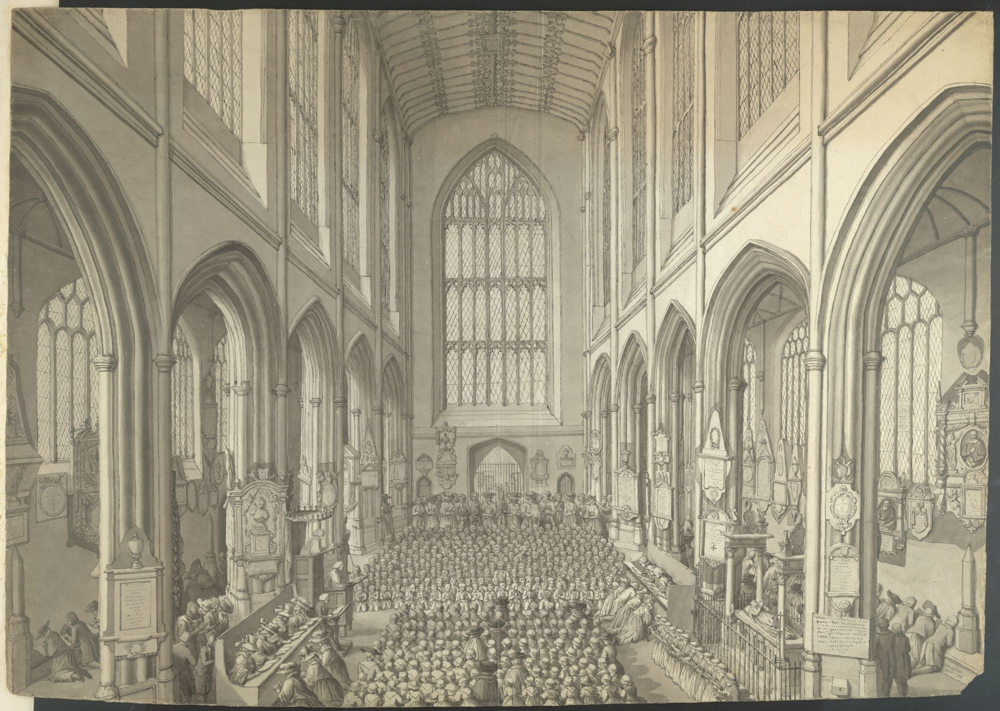 A view of a service in Bath Abbey by Samuel Hieronymus Grimm.