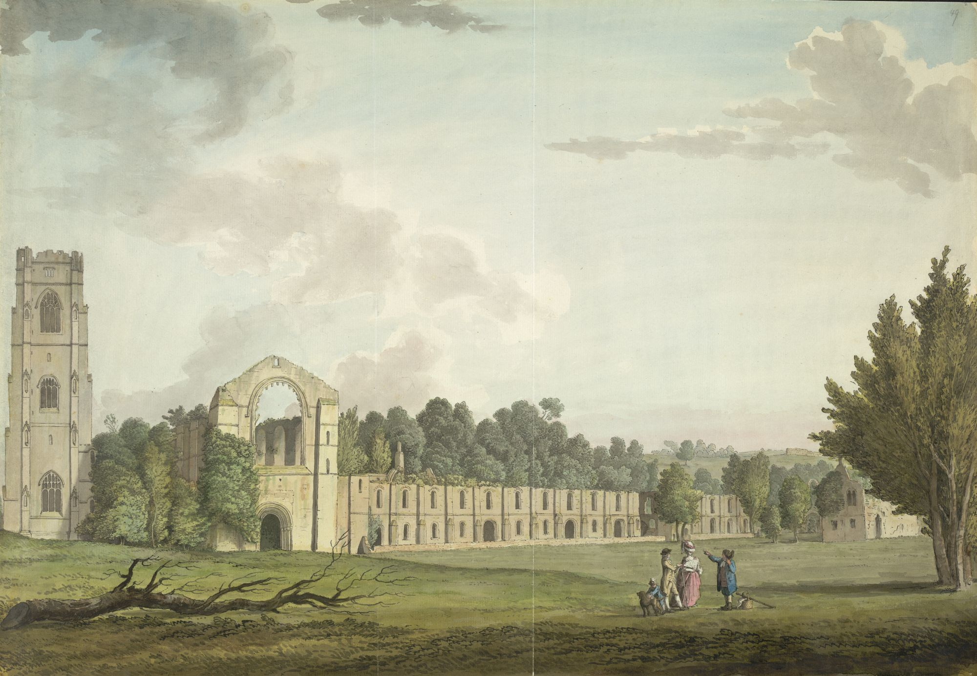 A view of Fountains Abbey by Samuel Hieronymus Grimm.