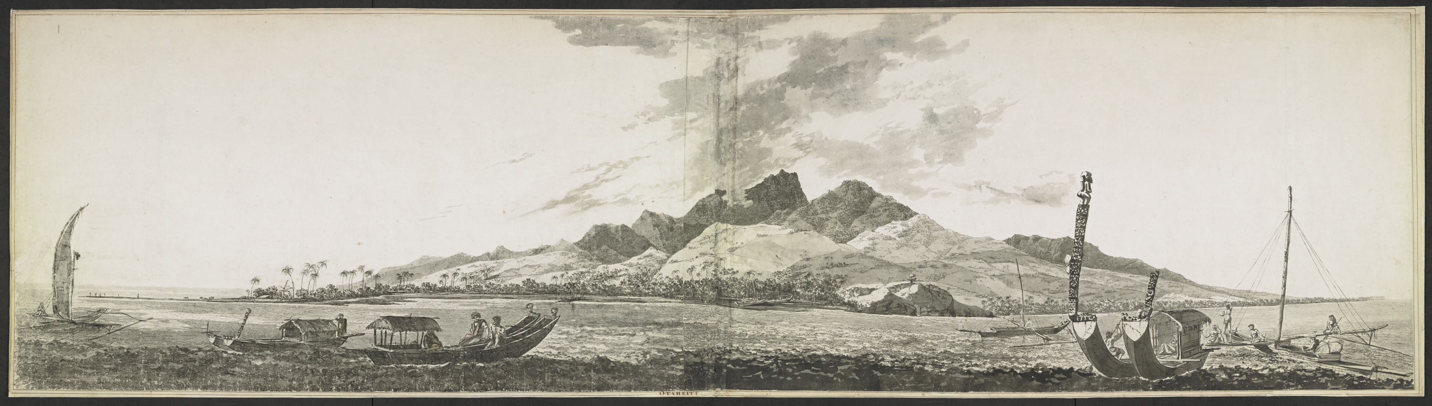 View of Matavai Bay, Otaheite [Tahiti]; with Point Venus and One-Tree Hill, and Mount Orofena behind