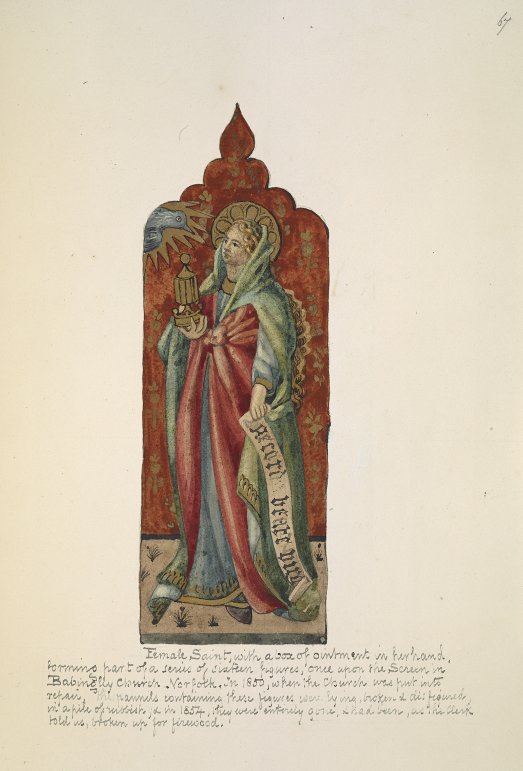 [Frederick Charles Husenbeth (1796–1872)], A female saint with a box of ointment in her hand, undated, watercolour and gold paint, Add MS 23053, f.67.