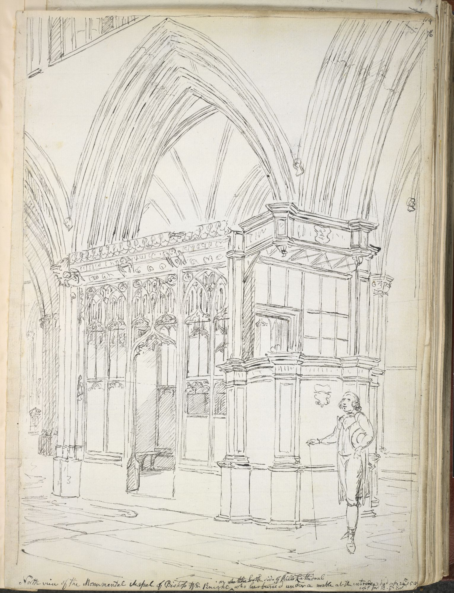 A pencil perspective of Bishop Knight's Monument in Wells Cathedral by John Carter.