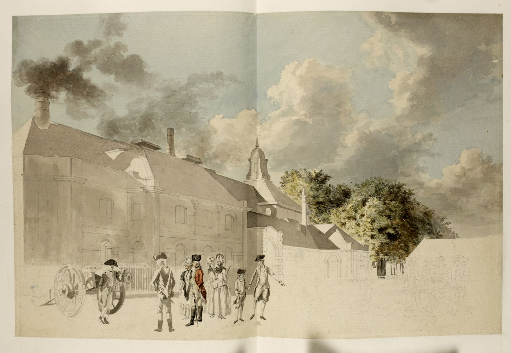 An unfinished watercolour view of the Royal Foundry at Woolwich by Paul Sandby.