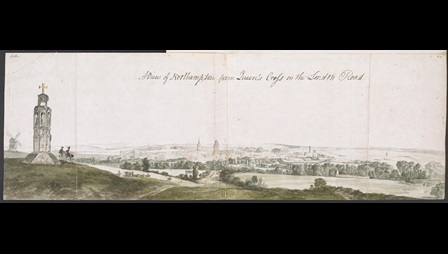 Peter Tillemans (about 1684-1734), A View of Northampton from Queen's Cross on the London Road, probably July 1721, watercolour over pencil with pen and ink, 24.5 x 74 cm, Add MS 32467, f.163