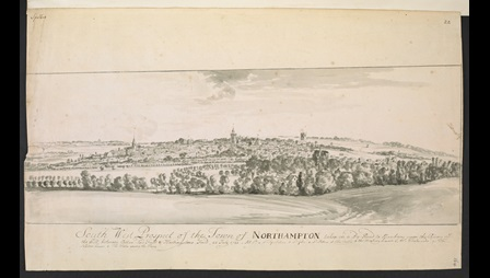 Peter Tillemans (about 1684-1734), South West Prospect of the Town of Northamptonshire taken in a By Road to Banbury upon the Rising of the Hill between Coton-End Field and Hardingstone Field, 22 July 1721, monochrome wash over pencil with pen and ink, 26.5 x 44.3 cm, Add MS 32467, f.164