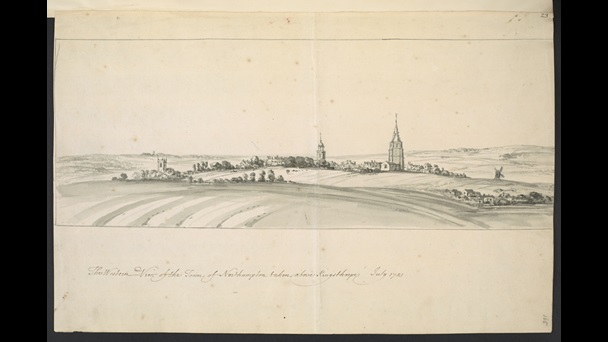 Peter Tillemans (about 1684-1734), The Western View of the Town of Northampton taken above Kingsthorpe, July 1721, monochrome wash over pencil with pen and ink, 27 x 41.7 cm, Add MS 32467, f.165