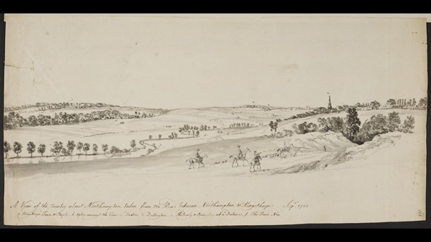 Peter Tillemans (about 1684-1734), A View of the Country about Northampton taken from the Road between Northampton & Kingsthorpe, September 1721, monochrome wash over pencil with pen and ink, 21.8 x 45 cm, Add MS 32467, f.166
