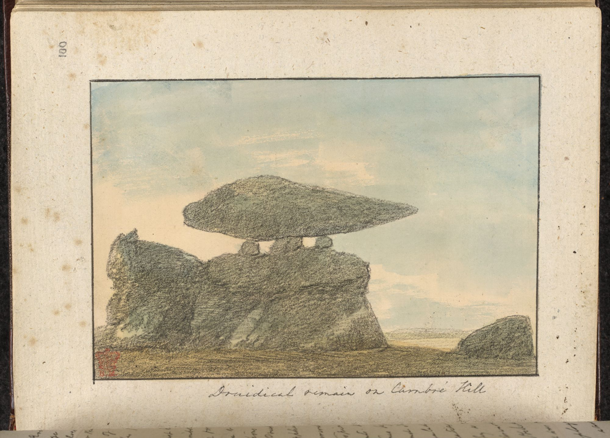 A view of druidical remains on Carn Brea Hill by Rev. John Skinner.