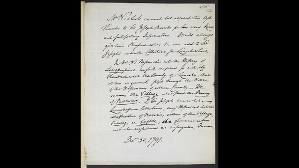 Letter to Sir Joseph Banks from John Nichols