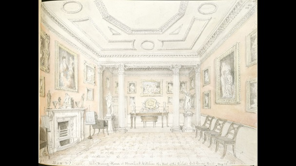 A view of the dining room at Stourhead by John Buckler.