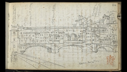 George Scharf, Ponte Vecchio, Florence, 24 November 1839. British Library Add. MS 36488 B, f.64