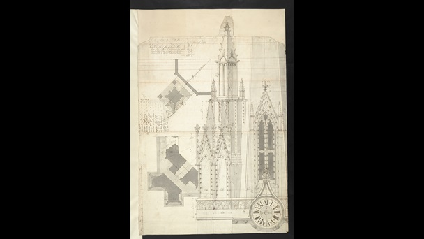 A sketch of the tower of St Mary's Church, Oxford.