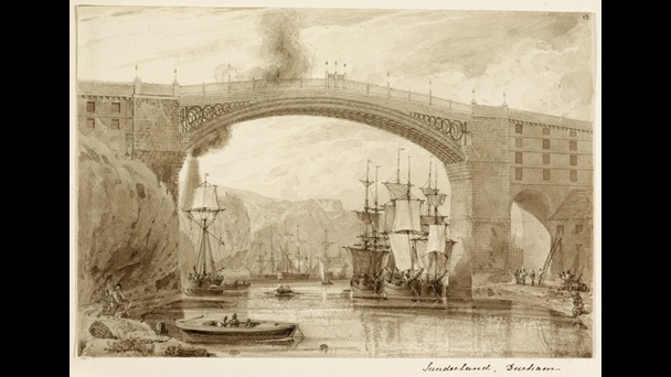 A view of the iron bridge over the River Wear by Edward Blore.