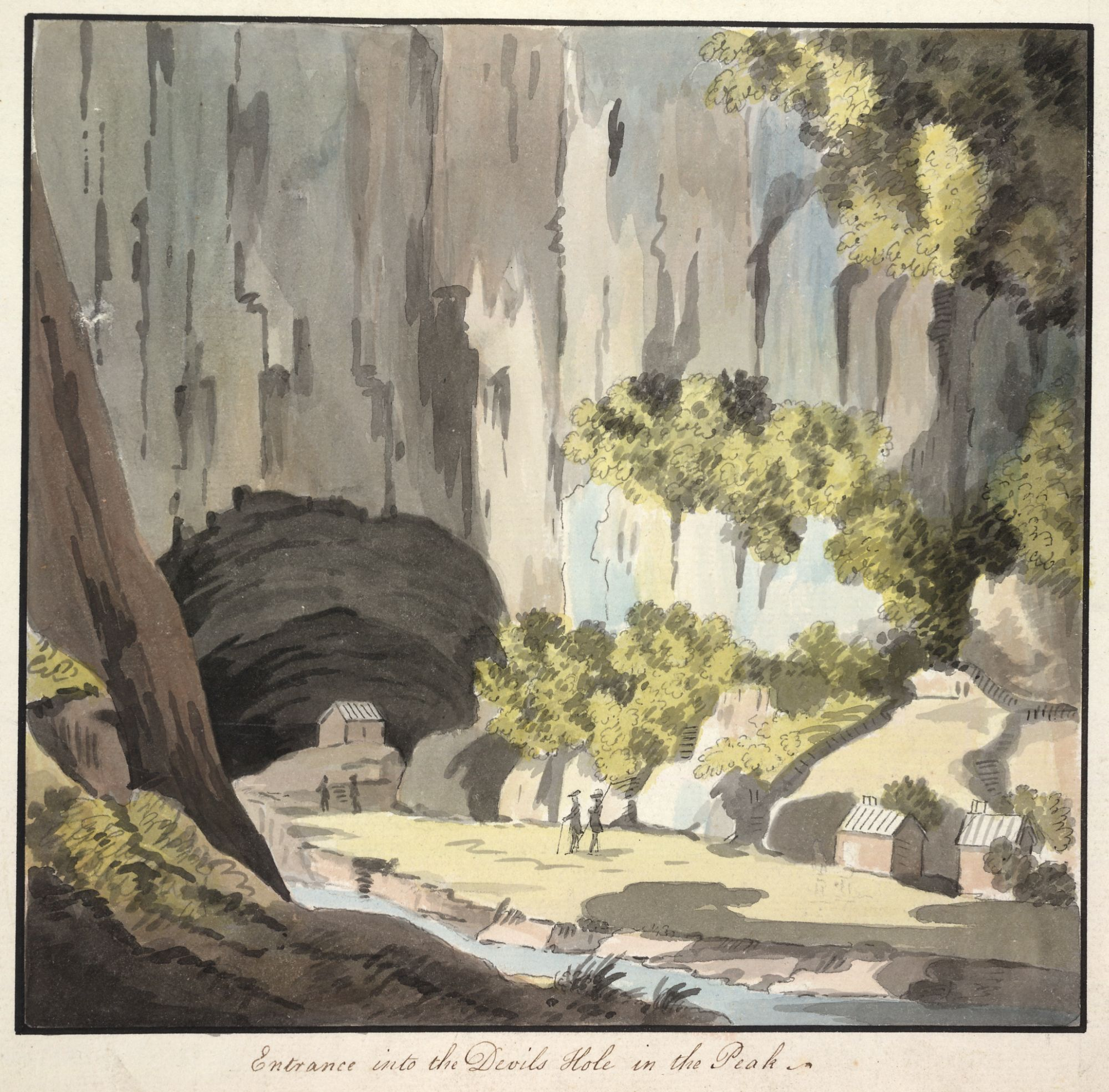A view of the entrance into the Devils Hole in the Peak District, attributed to Theodosius Forrest.