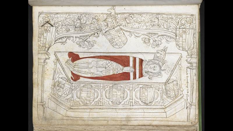 A view of the tomb of Richard Beauchamp, Lord St Amand in the Dominican Church, London by Thomas Wriothesley.