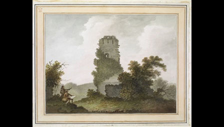 Bramber Castle, with the Lamberts at work in the bottom left, by James Lambert.