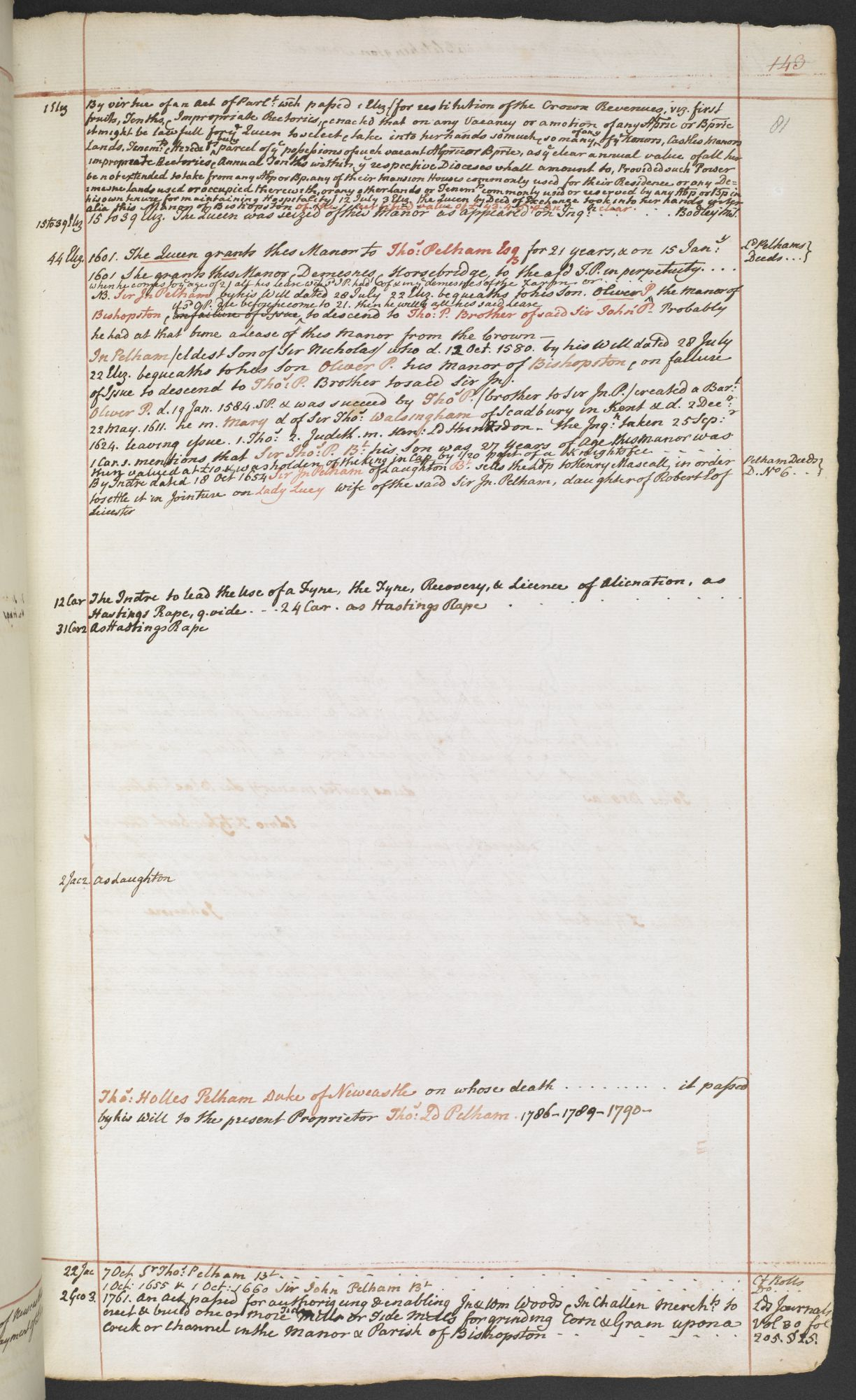 A page from Dr William Burrell's Notes on the Manor of Bishopstone, Sussex.