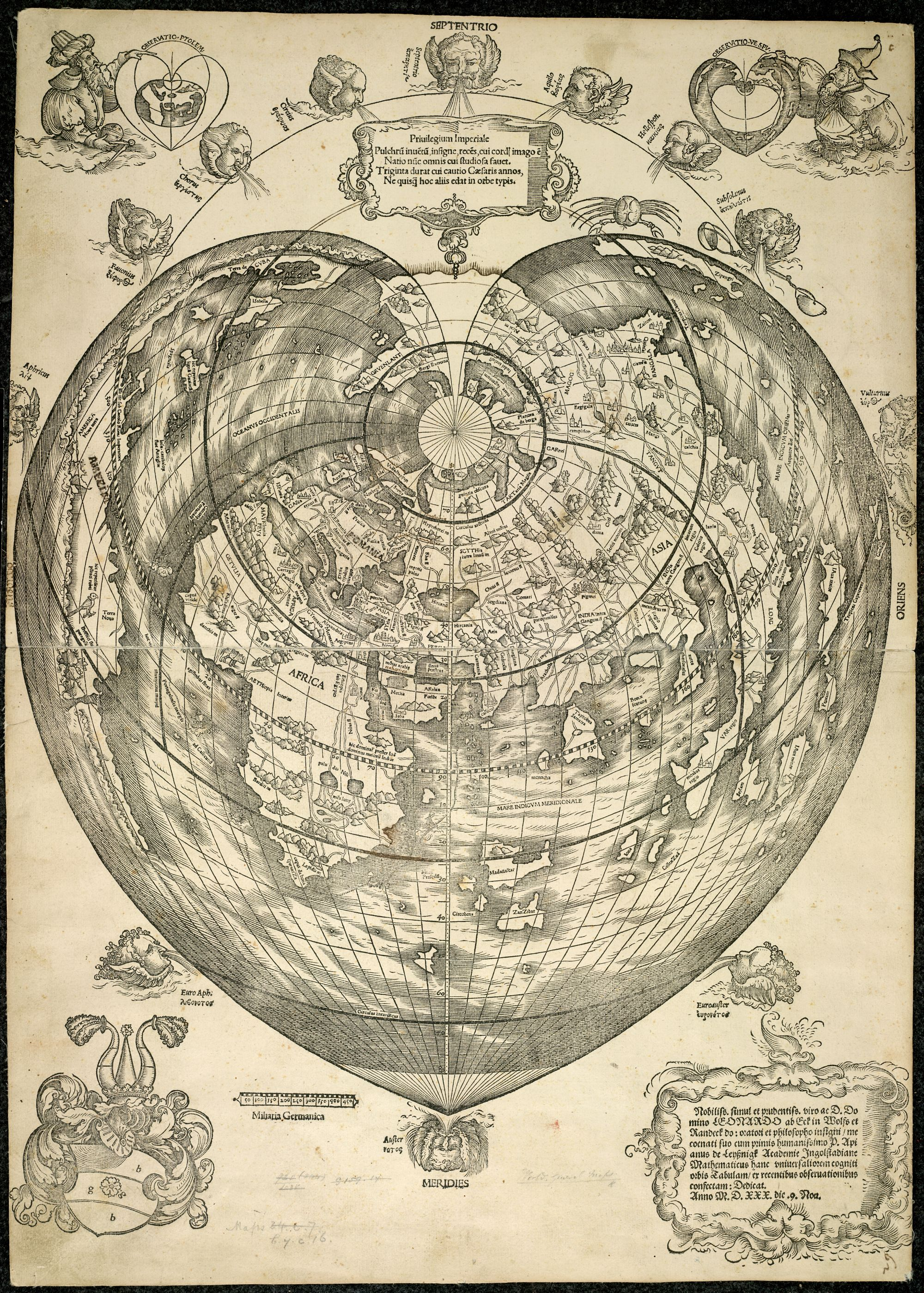 Peter Apian's printed map of the world in the shape of a heart