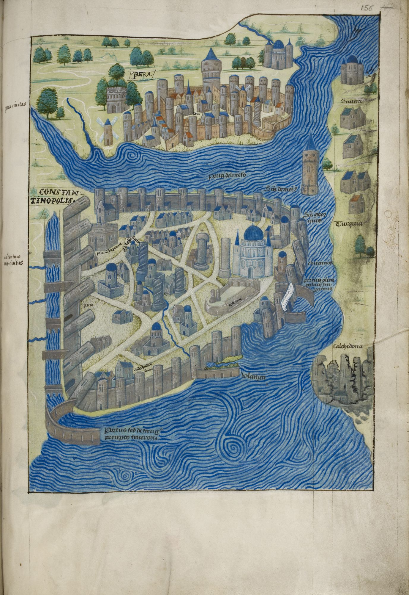 Depiction of Constantinople copied from Christoforo Buondelmonte's 'Liber Insularum Archipelago'.