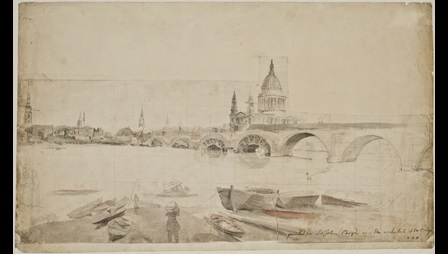 Elias Martin, View of the Thames with Blackfriars Bridge under construction, 1769, pen and ink, wash and watercolour, Nationalmuseum, Stockholm