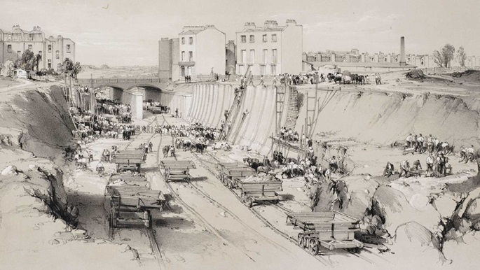 Old illustration of a road being built
