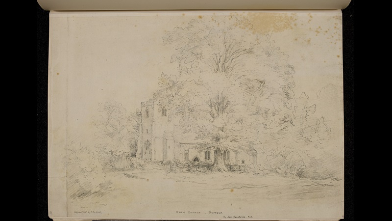 Faded sketch of a house and tree