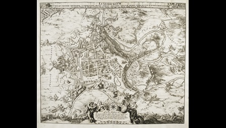 A map of the city of Luxembourg by Romeyn de Hooghe.