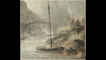 Elias Martin, Ironbridge, Coalbrookdale, 1779, watercolour, private collection