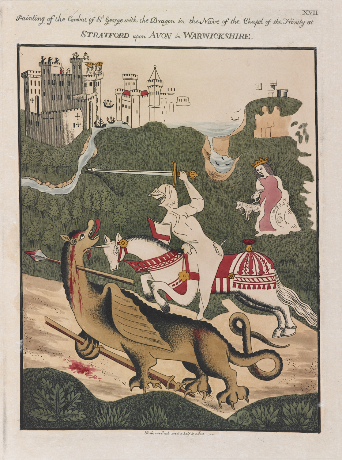 Plate showing Painting of the Combat of St George with the Dragon after an original fresco on the Nave of the Chapel of the Trinity at Stratford upon Avon