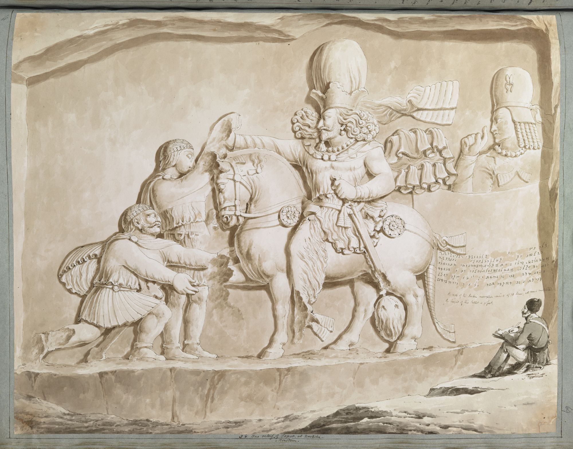 A Sassanian bas-relief at Nakshi-Roustam with Ker Porter sketching it, by Sir Robert Ker Porter.
