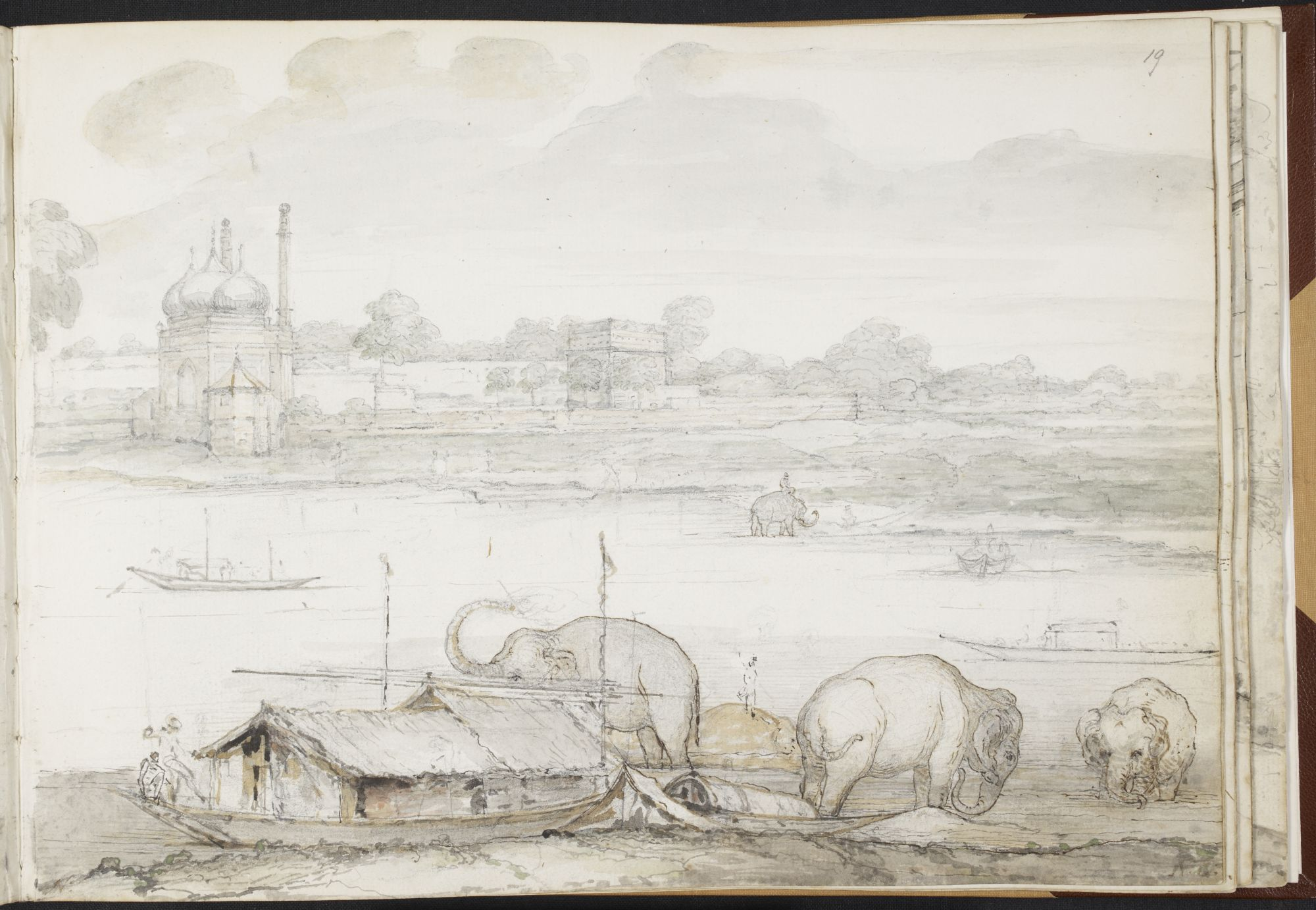Ozias Humphry, Pagoda at Lucknow taken from Mr Wombwell's house, 13 March 1786. British Library Add. MS 15962, f.19