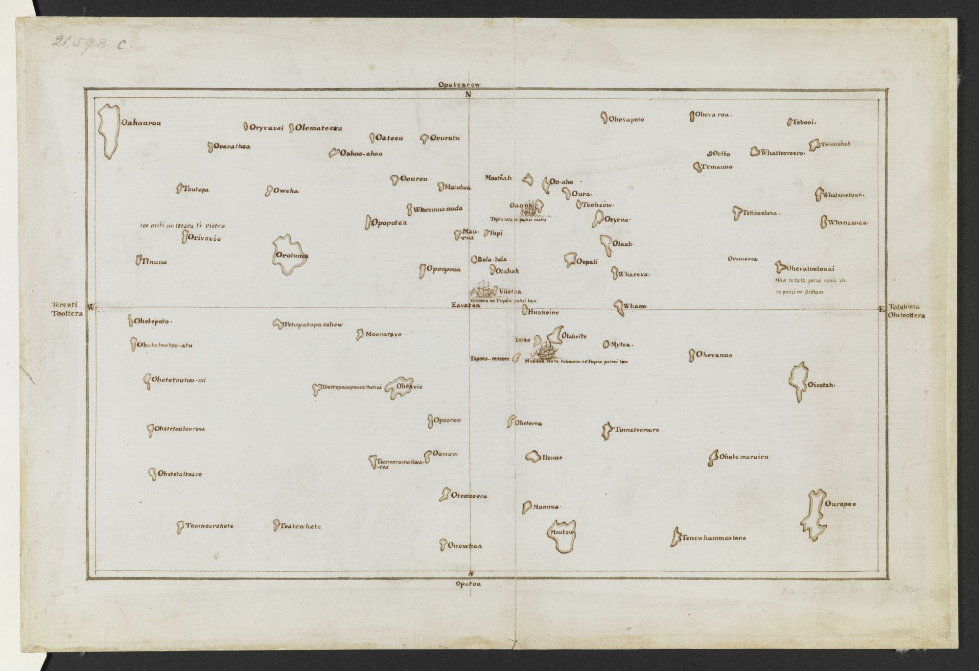 Copy Chart of the Society Islands, by James Cook after Tupai'a.