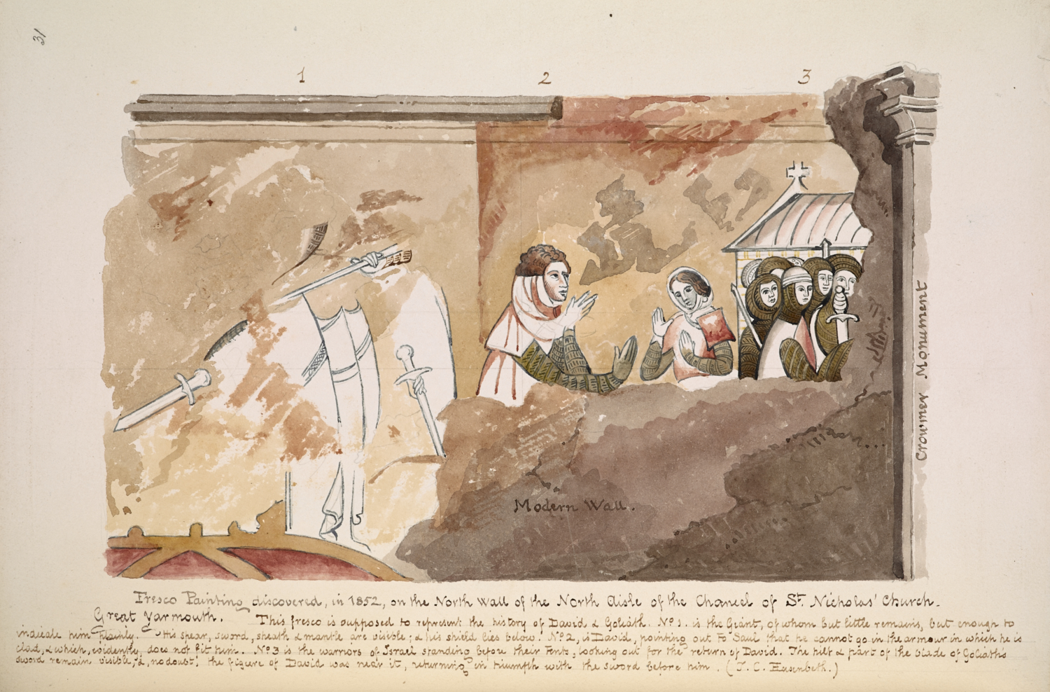 Frederick Charles Husenbeth (1796–1872), Fresco at St Nicholas' Church, Yarmouth, undated, pen and ink and watercolour, Add MS 23062, f.31.