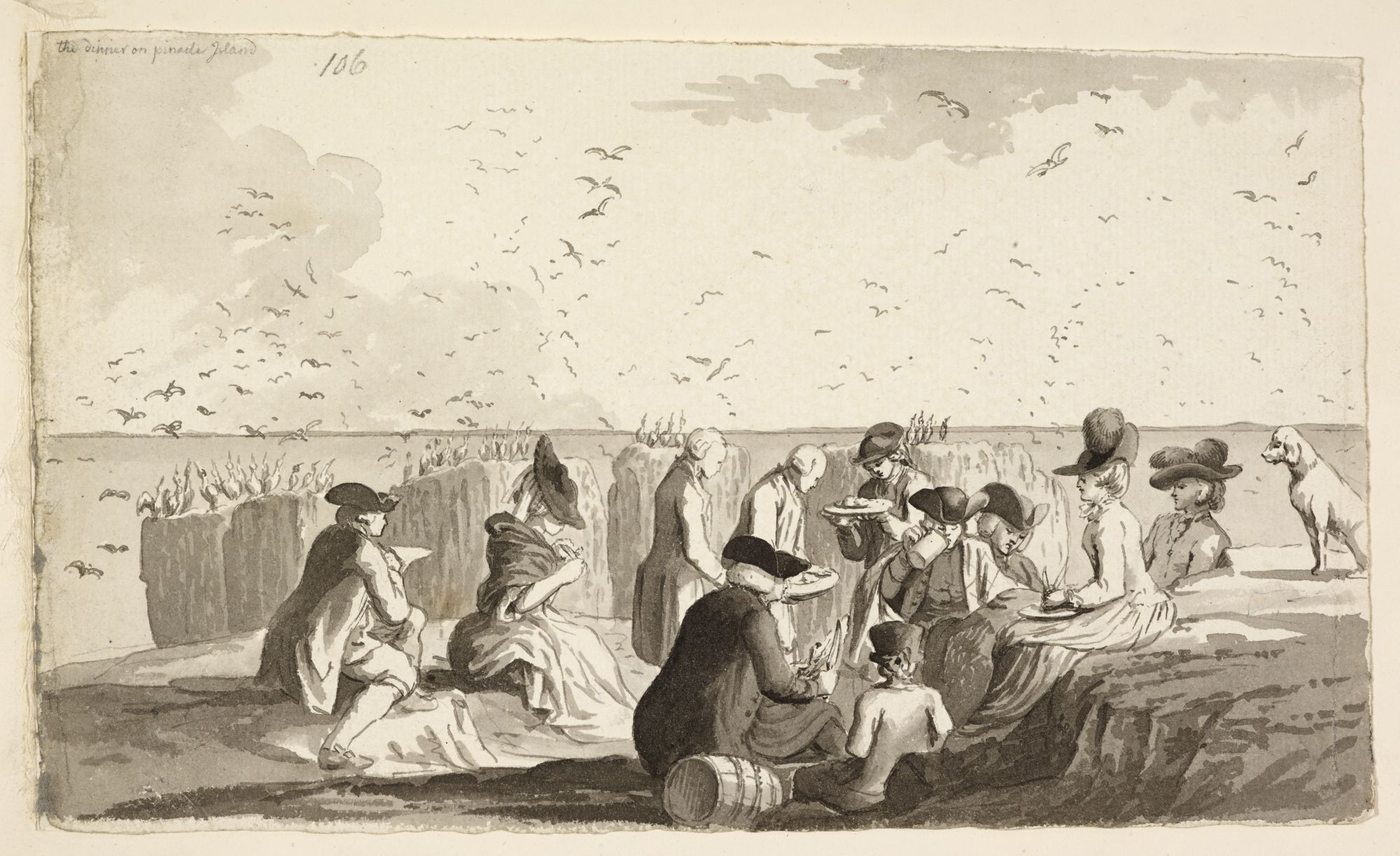 A view of a picnic on Staple Island by Samuel Hieronymus Grimm.