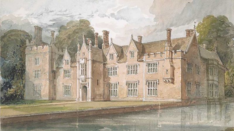 A pencil and watercolour drawing of Landwade Hall, Cambridgeshire by John Chessell Buckler.