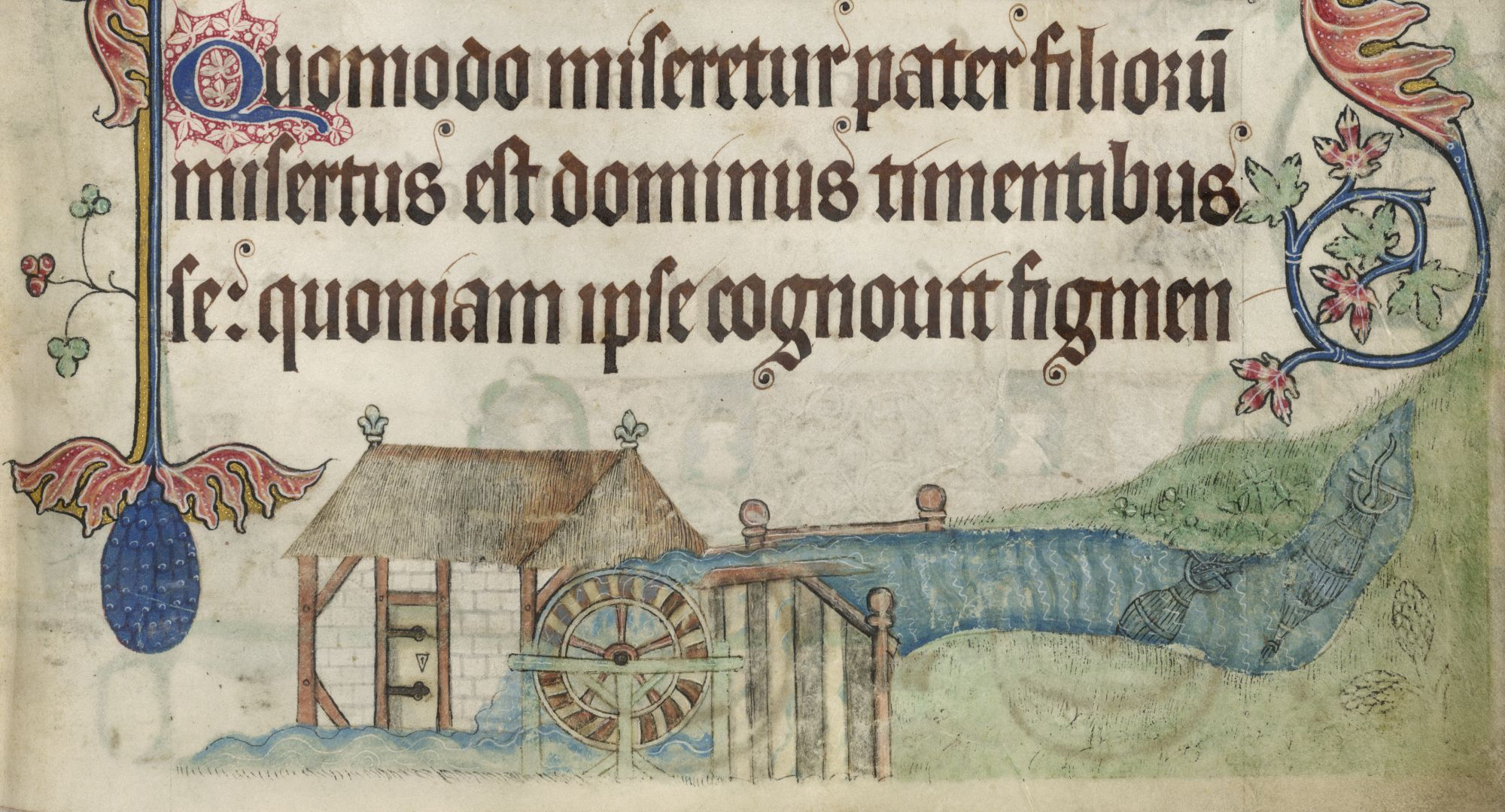 A view of Irnham Mill from the Luttrell Psalter.