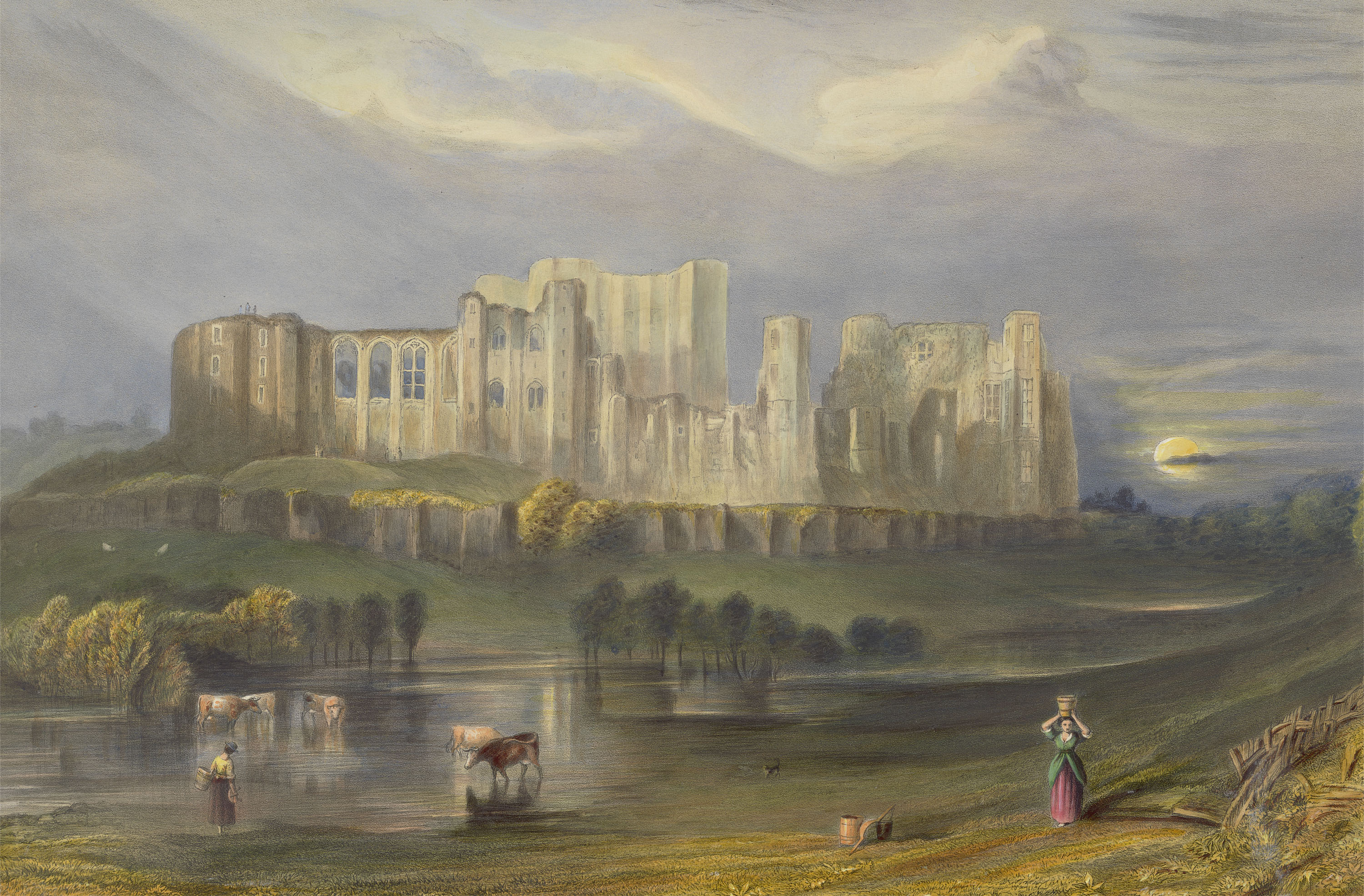 A hand-coloured impression of a print of Kenilworth Castle, Warwickshire, after J.M.W. Turner, published in 1832.