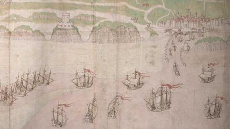 Attributed to Richard Lee, View of the Town and Harbour of Calais, about 1541, Cotton, Augustus I.ii.70.