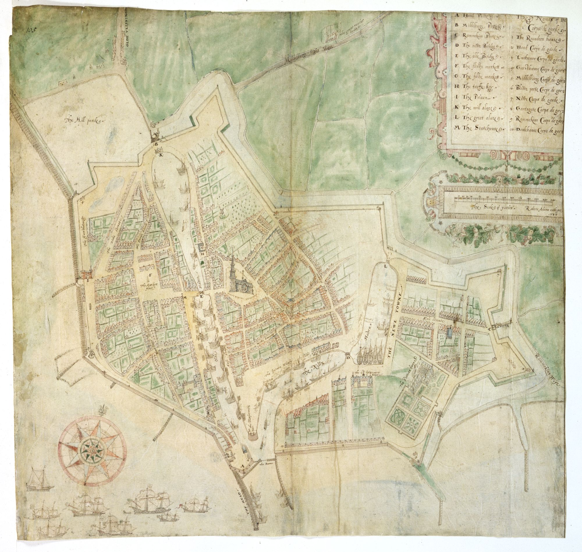 Robert Adams, Plan of Flushing (Vlissingen), 1588. Cotton MS Augustus I.ii.105.