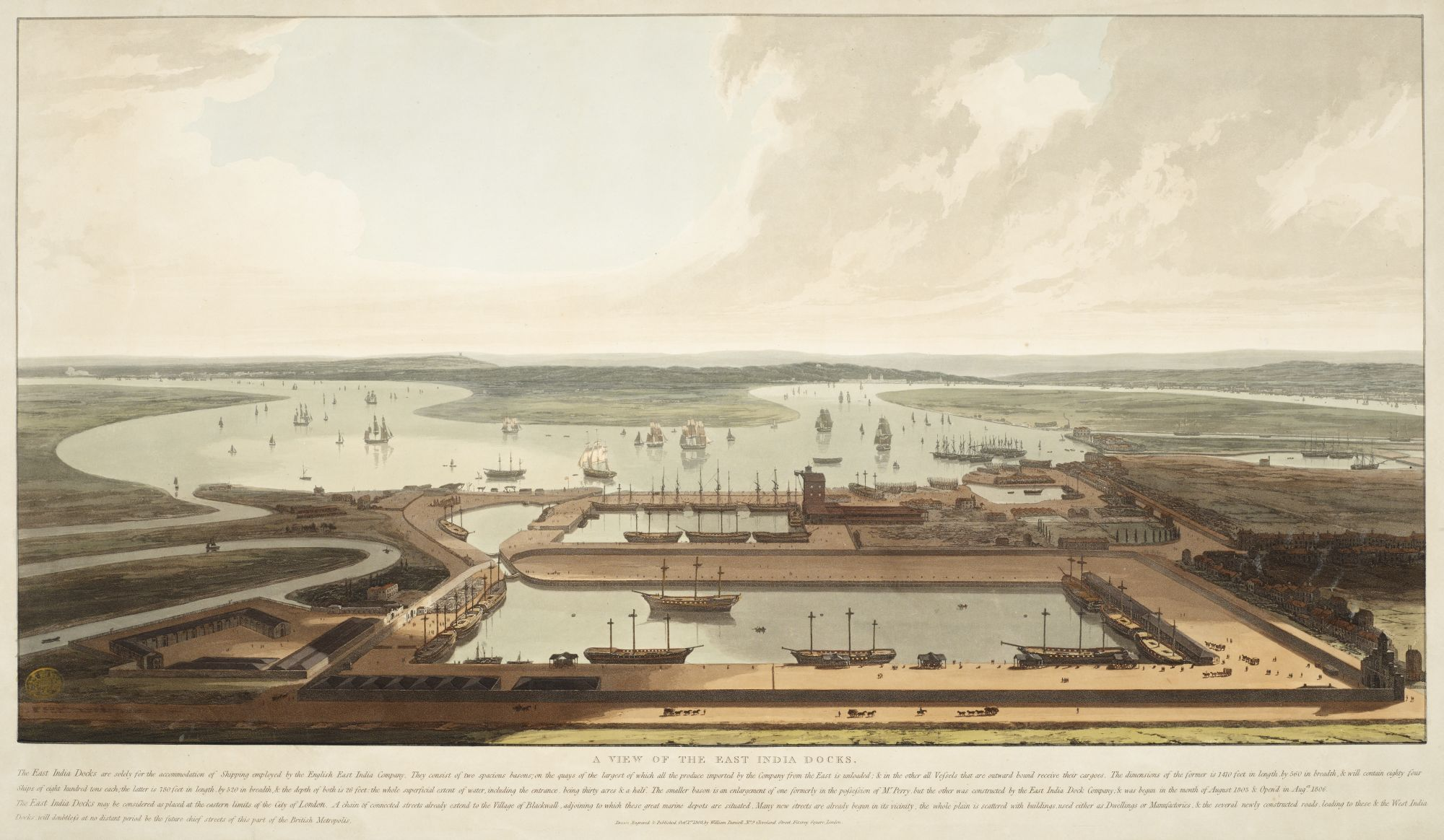 William Daniell, A View of the East India Docks, published by William Daniell, London, 1808, aquatint with hand-colouring, plate 49.6 x 86 cm, on sheet 59.2 x 93.1 cm, British Library, London, Maps K.Top.21.31.5.c.PORT.11.TAB.
