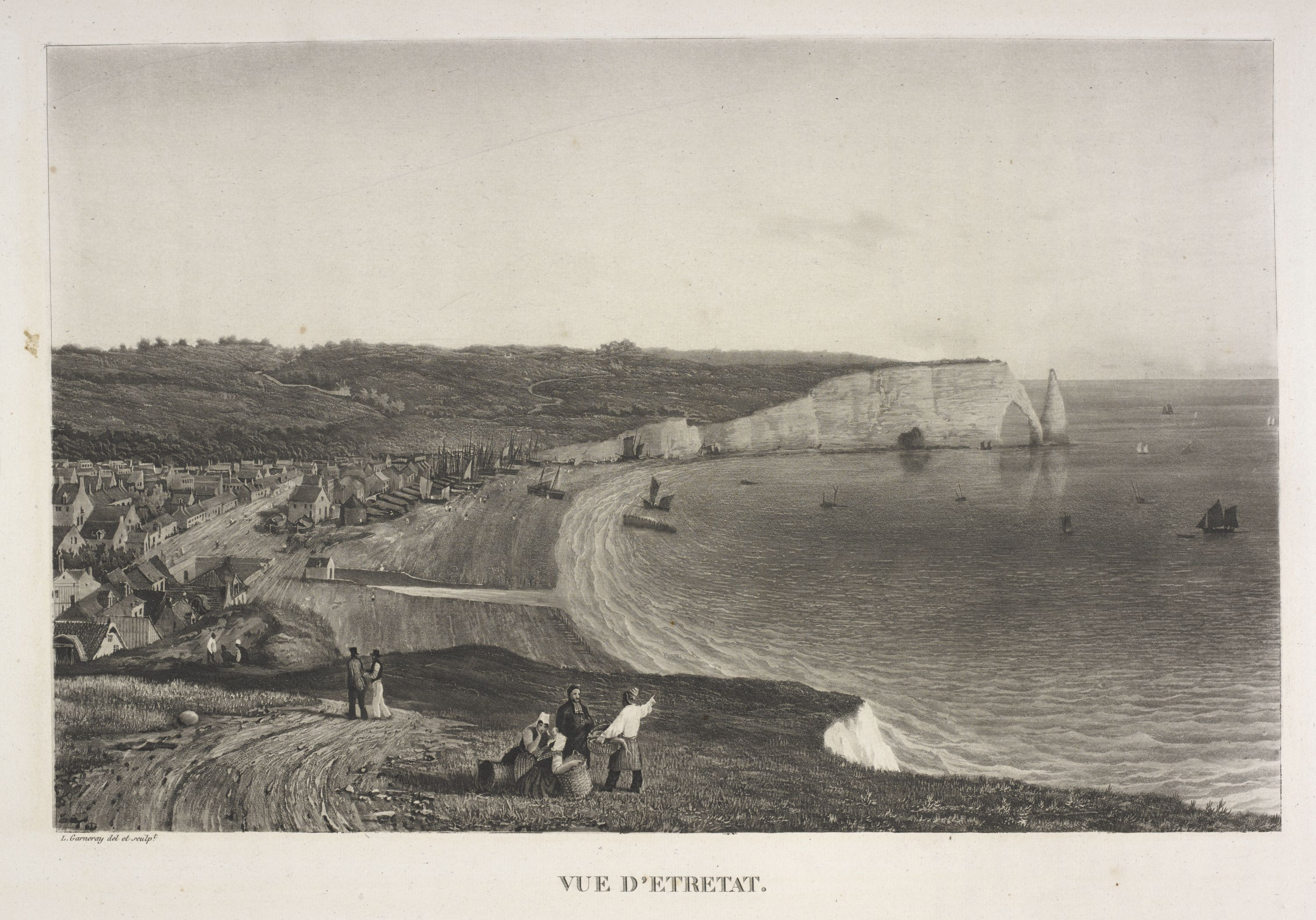 View of Étretat in Normandy by Louis Garneray