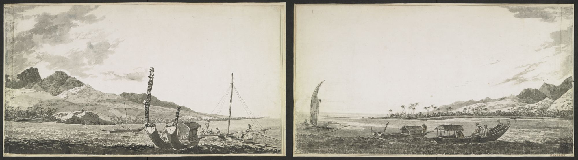William Hodges' panoramic view of Matavai Bay, Tahiti, with Point Venus and Mount Orofena