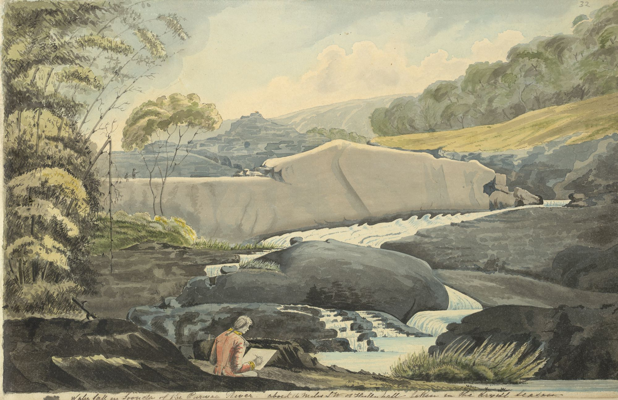 Waterfall near Haliyal with John Johnson sketching in the foreground; a leaf from Johnson's sketchbook